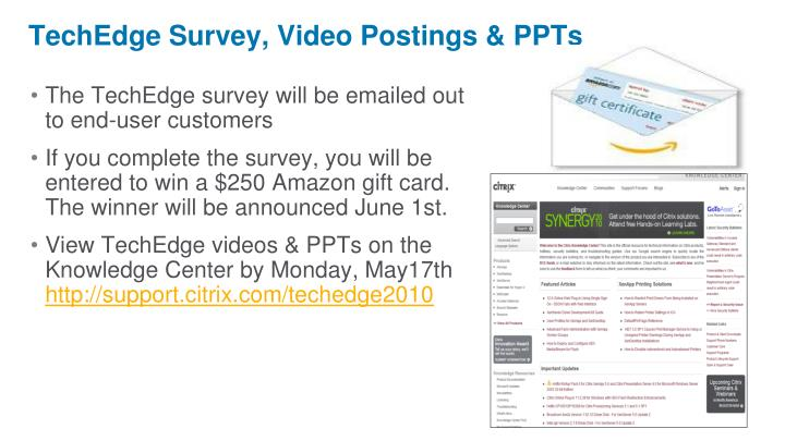 The TechEdge survey will be emailed out to end-user customers