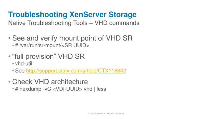 Troubleshooting XenServer Storage