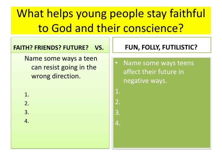 What helps young people stay faithful to God and their conscience?