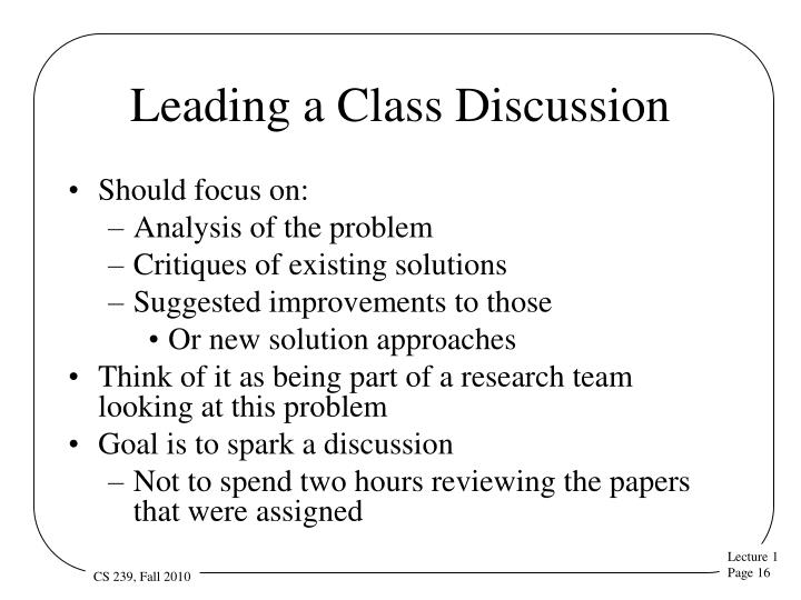 Leading a Class Discussion