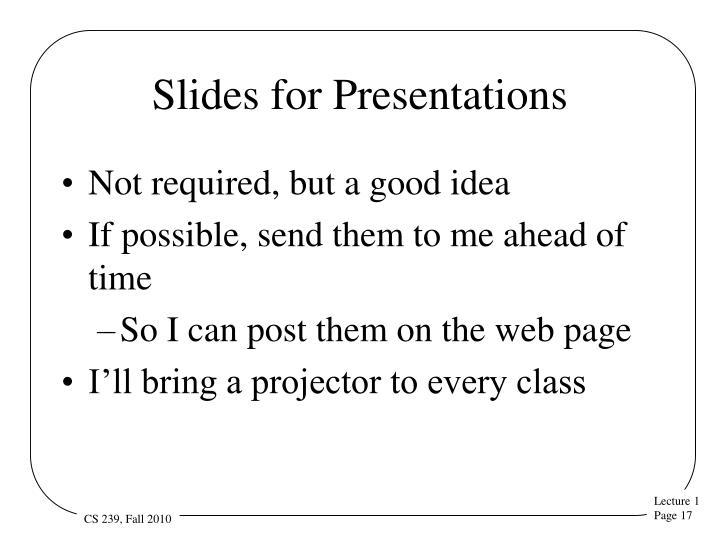 Slides for Presentations