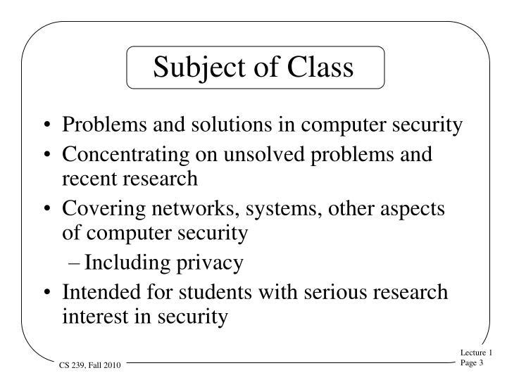 Subject of Class