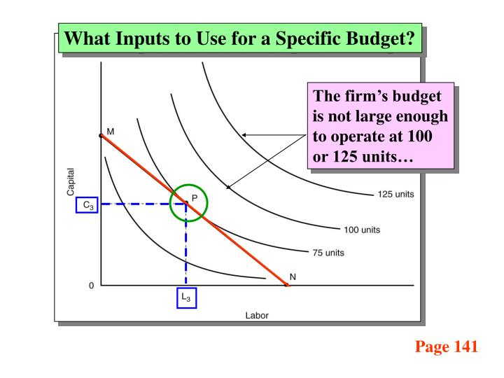 What Inputs to Use for a Specific Budget?