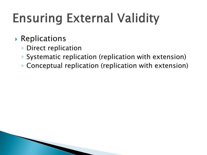 Ensuring External Validity