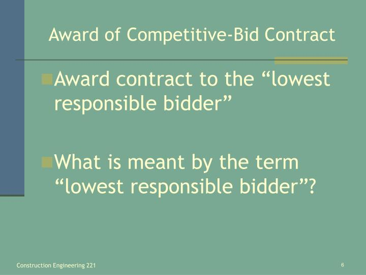 Award of Competitive-Bid Contract