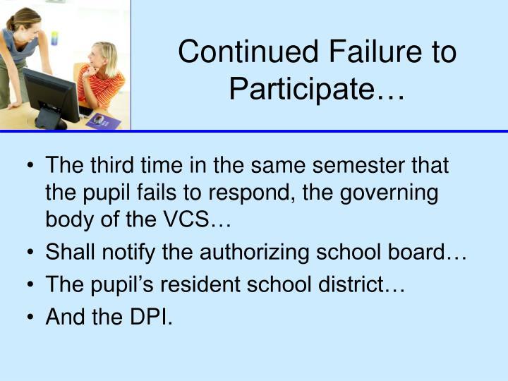 Continued Failure to Participate…