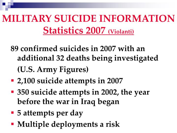 MILITARY SUICIDE INFORMATION