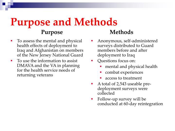 Purpose and Methods