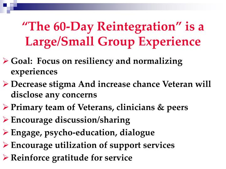 """""""The 60-Day Reintegration"""" is a Large/Small Group Experience"""