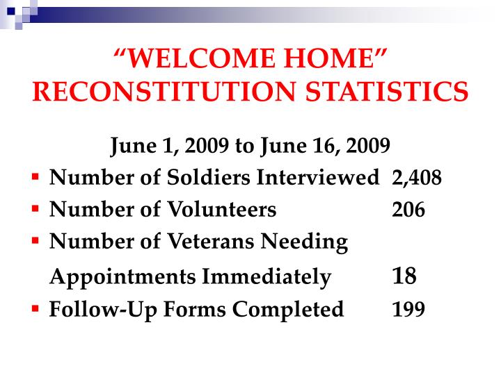 """""""WELCOME HOME"""" RECONSTITUTION STATISTICS"""