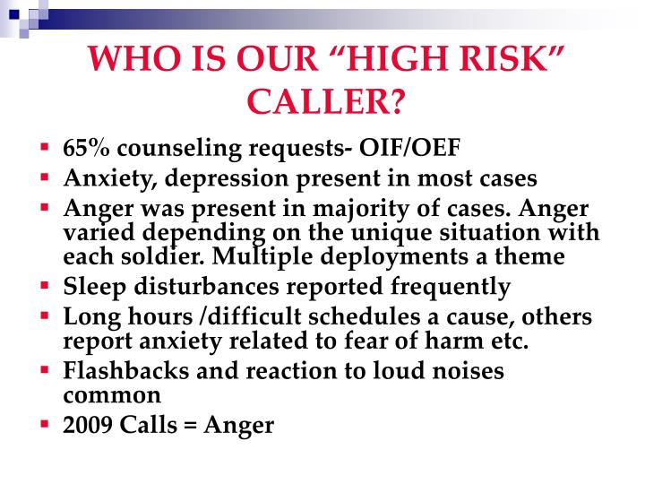 """WHO IS OUR """"HIGH RISK"""" CALLER?"""