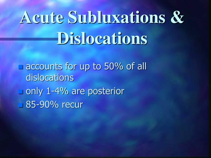 Acute Subluxations & Dislocations