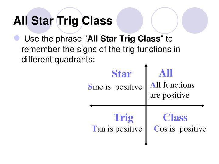 All Star Trig Class
