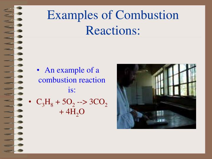 Examples of Combustion Reactions: