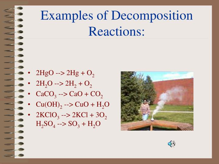 Examples of Decomposition Reactions: