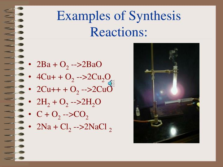 Examples of Synthesis Reactions:
