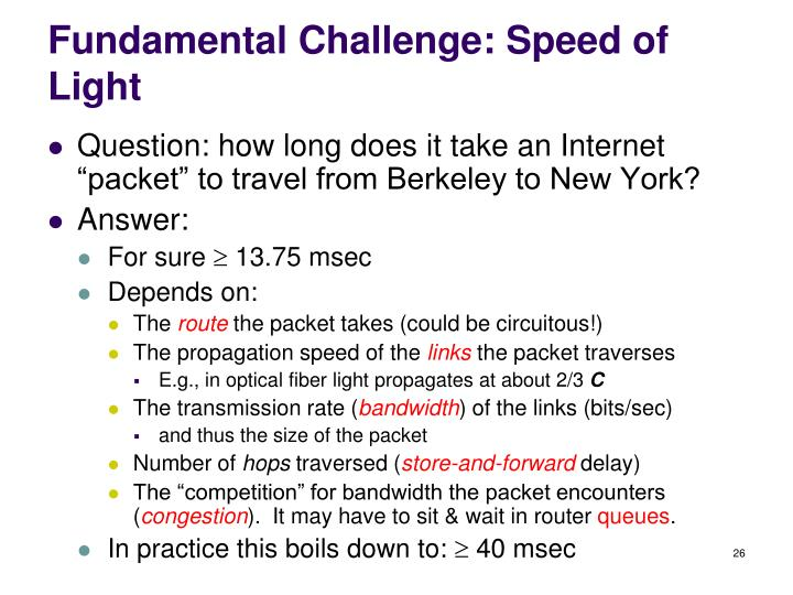 Fundamental Challenge: Speed of Light
