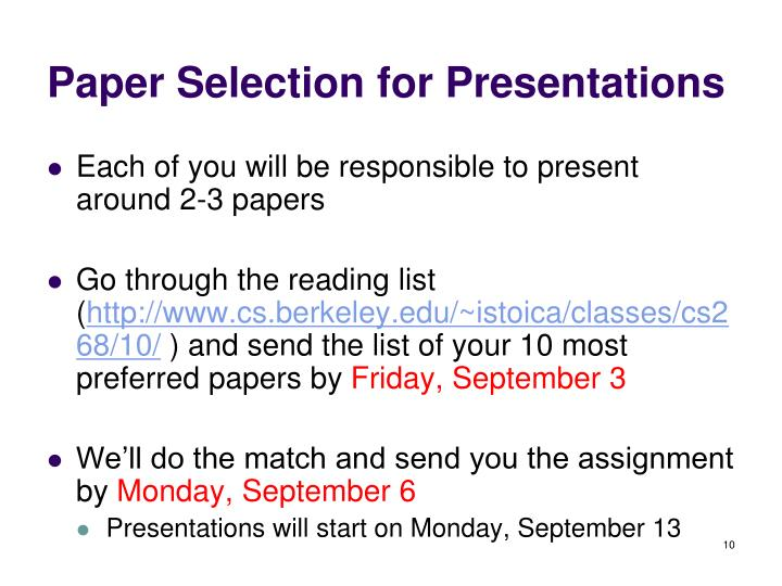 Paper Selection for Presentations