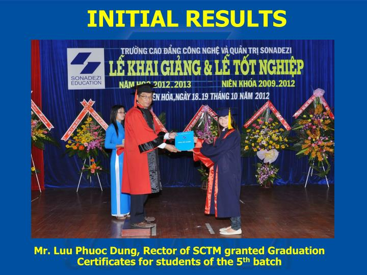 Mr. Luu Phuoc Dung, Rector of SCTM granted Graduation Certificates for students of the 5