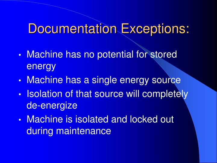 Documentation Exceptions: