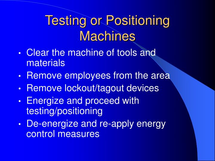 Testing or Positioning Machines