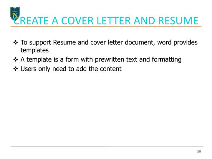 CREATE A COVER LETTER AND RESUME
