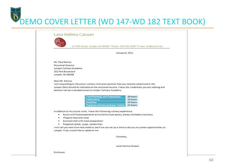 DEMO COVER LETTER (WD 147-WD 182 TEXT BOOK)