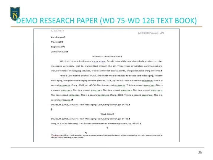 DEMO RESEARCH PAPER (WD 75-WD 126 TEXT BOOK)