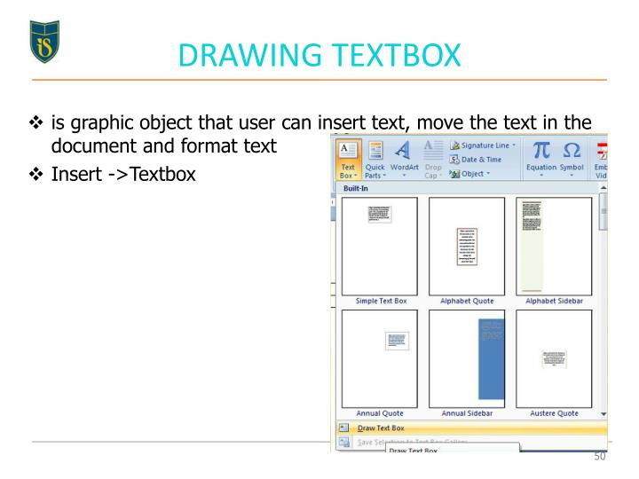 DRAWING TEXTBOX