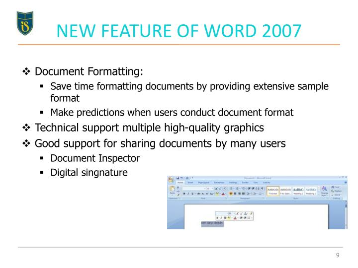 NEW FEATURE OF WORD 2007