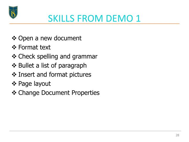 SKILLS FROM DEMO 1