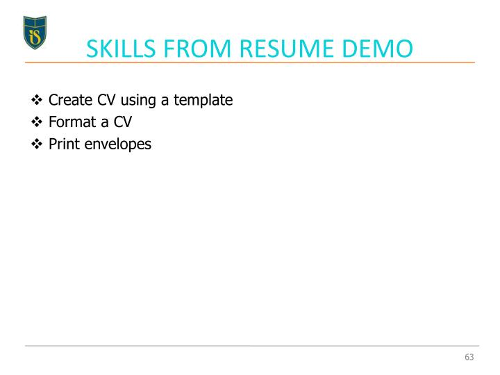 SKILLS FROM RESUME DEMO