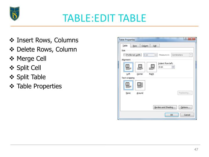 TABLE:EDIT TABLE