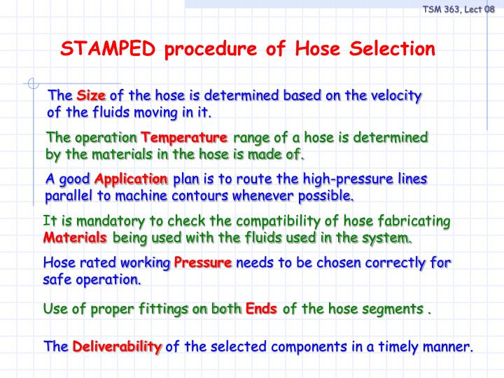 STAMPED procedure of Hose Selection