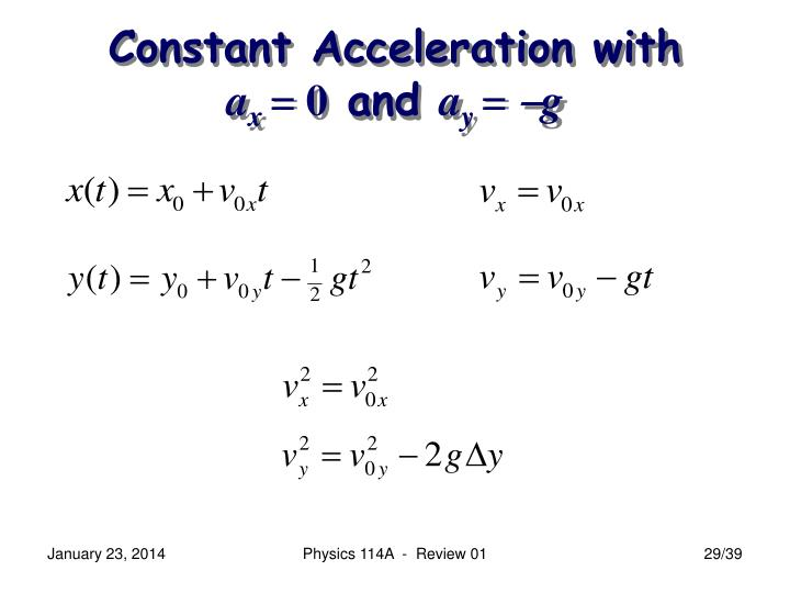 Constant Acceleration with