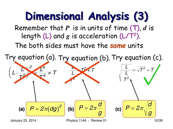 Dimensional Analysis (3)