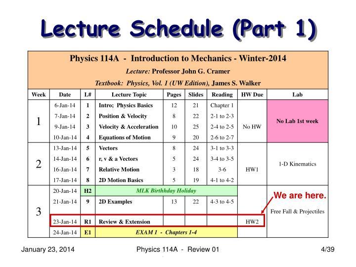Lecture Schedule (Part 1)