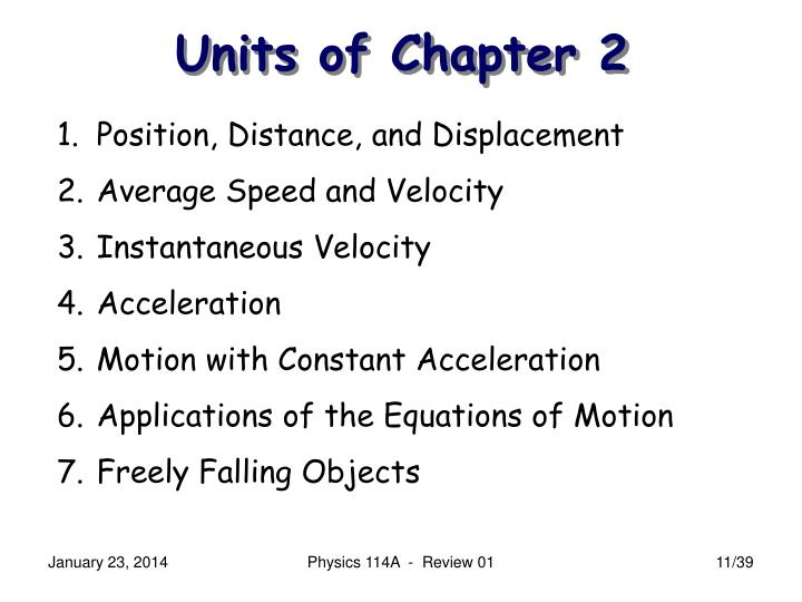 Units of Chapter 2