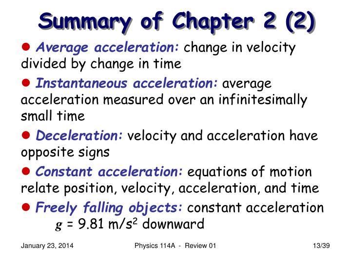 Summary of Chapter 2 (2)