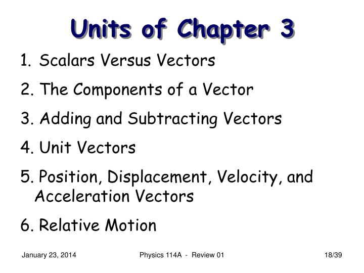 Units of Chapter 3