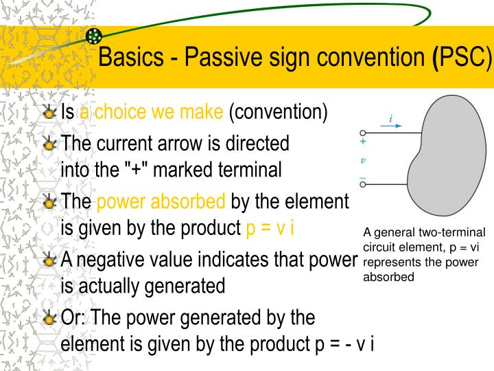 Basics - Passive sign convention