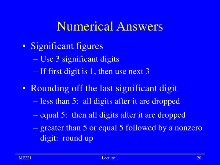 Numerical Answers