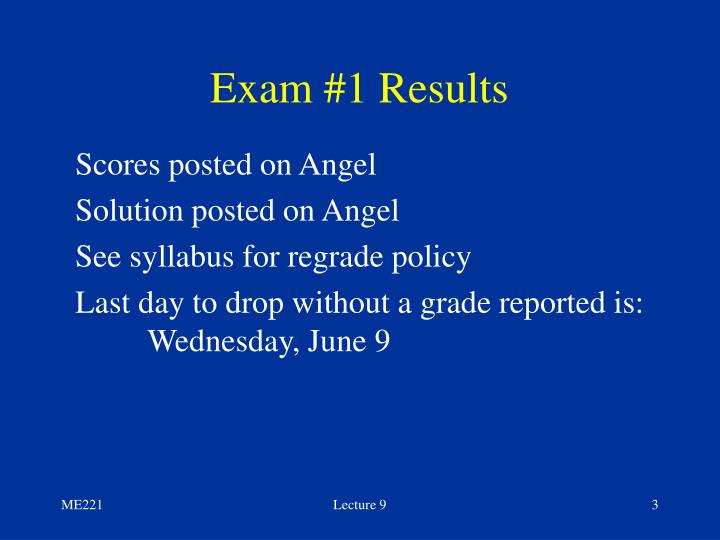 Exam #1 Results