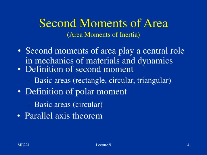 Second Moments of Area