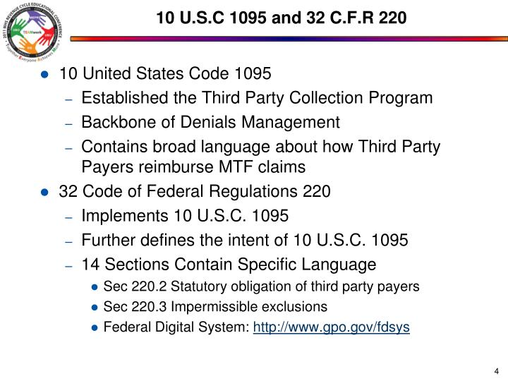 10 U.S.C 1095 and 32 C.F.R 220