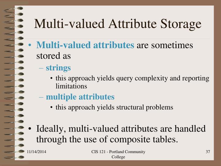 Multi-valued Attribute Storage