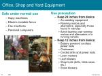 office shop and yard equipment