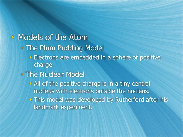 Models of the Atom