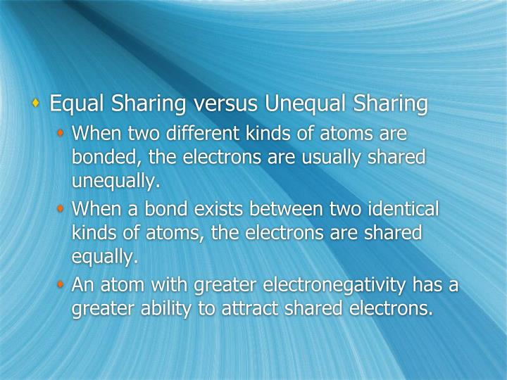 Equal Sharing versus Unequal Sharing