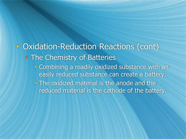 Oxidation-Reduction Reactions (cont)